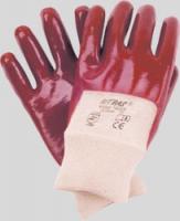 Pvc-Handschuhe,rotbraun mit Strickbund
