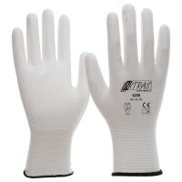 NItras Nylon-Handschuhe, weiß, weiße PU-Beschichtung