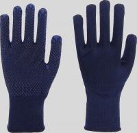 Strickhandschuhe, Nylon/Baumwolle,blaue PVC Noppen mit Strickbun