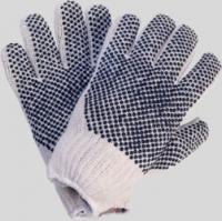 Strickhandschuhe, Baumwolle/Polyester, rohweiß,schwarze PVC Nopp