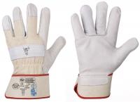 Rindvollleder-Handschuhe Stierkopf Natur