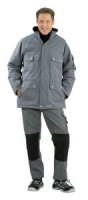 Planam Winter-Parka Canvas 320, grau/ schwarz