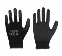 Polyester-Feinstrick-Handschuh • CE CAT 2 • mit schwarzer Latex-Beschichtung