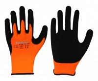 Elastischer Polyester-Feinstrick-Handschuh • orange • Mikro-Schaum-Latex-Beschichtung
