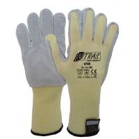 NITRAS TAEKI5 Schnittschutzhandschuhe, gelb, Lederbesatz