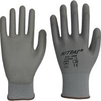 Nitras Nylon-Handschuhe,grau, graue PU Beschichtung