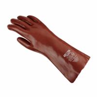 teXXor® Chemikalienschutzhandschuh PVC ROTBRAUN